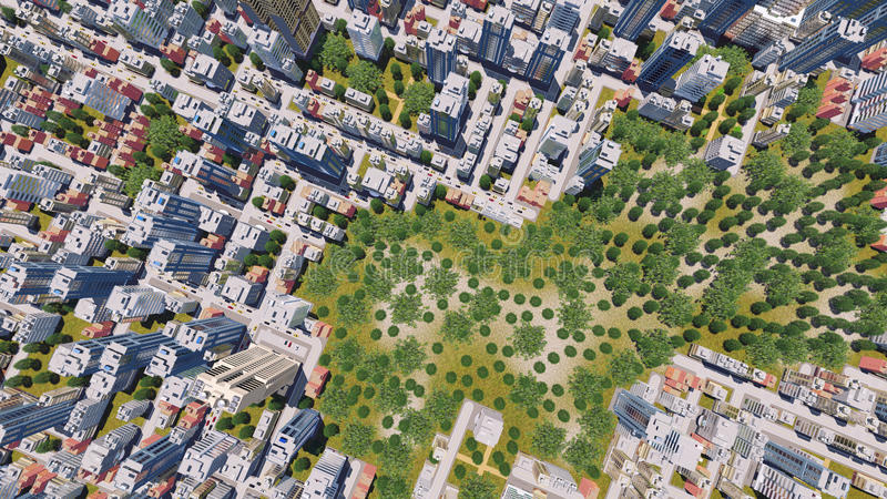 Modern city district with park zone aerial view. Straight overhead aerial view of abstract modern city district residential area with high rise buildings and vector illustration