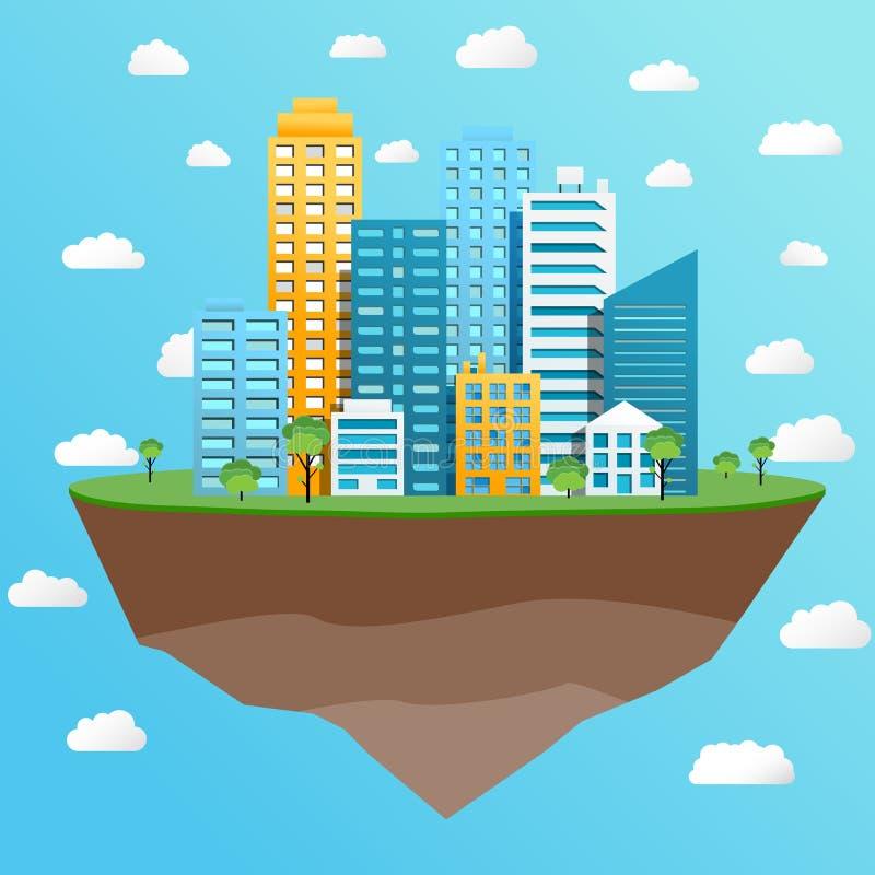Modern city on flying island concept vector illustration