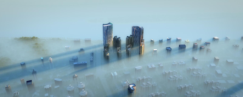 Modern City In Fog Stock Photo