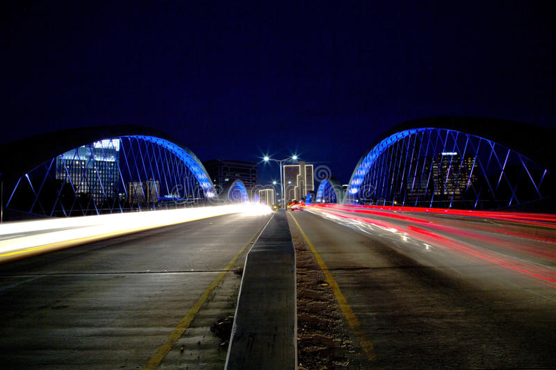 Modern city Fort Worth night scenes. Beautiful West 7th street bridge and downtown Fort Worth night scenes, TX USA stock photo