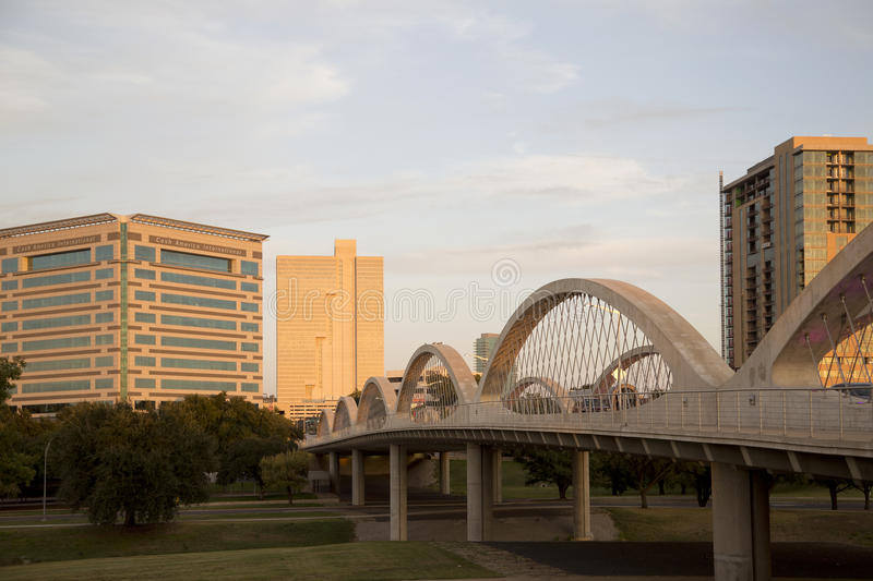 Modern city Fort Worth on sunset Texas. West 7th street bridge and downtown Fort Worth on sunset, TX USA stock photos