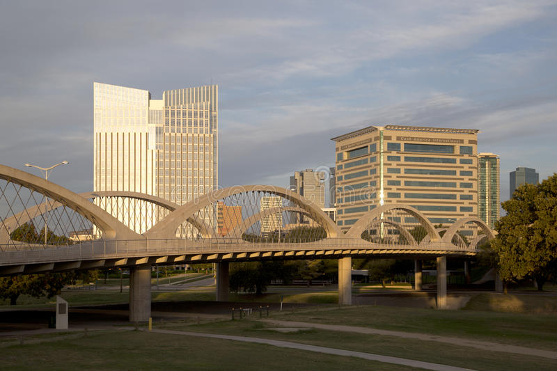 Modern city Fort Worth on sunset. West 7th street bridge and downtown Fort Worth on sunset, TX USA royalty free stock photography