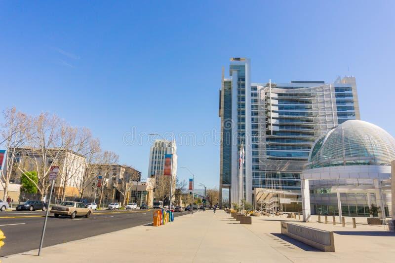 The modern City Hall building of San Jose, Silicon Valley, California stock photos