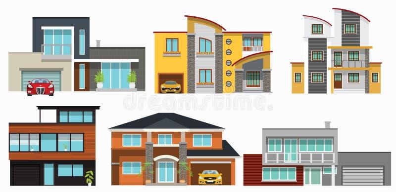 Modern city houses vector illustration