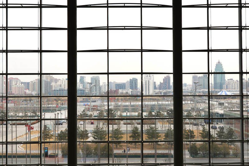 Download Modern Cityscape Behind Window Stock Photo - Image: 30254492