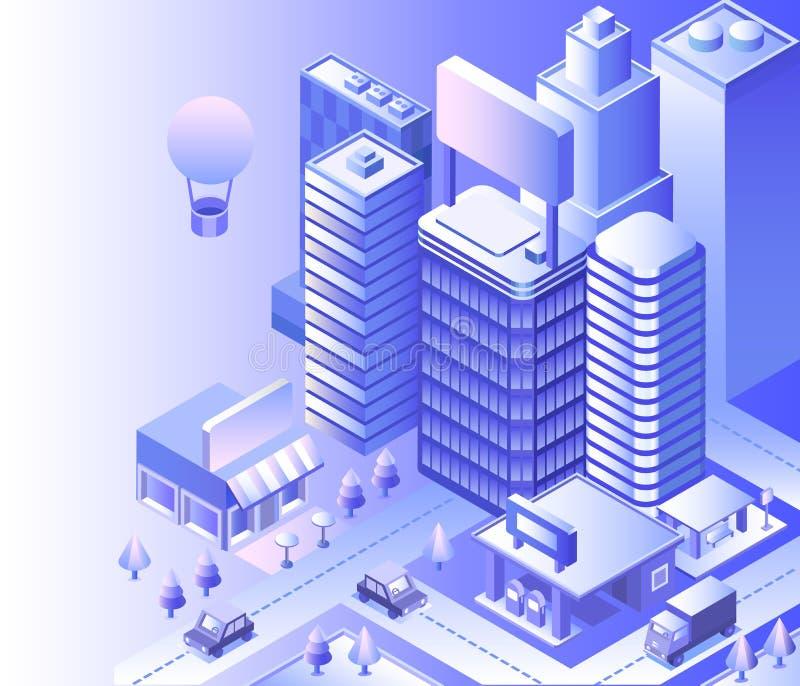 Modern city landscape. Cityscape 3d vector isometric. Skyline scene. Smart city skyscraper, building, architecture, car, shop, street, road coffee Technology stock illustration