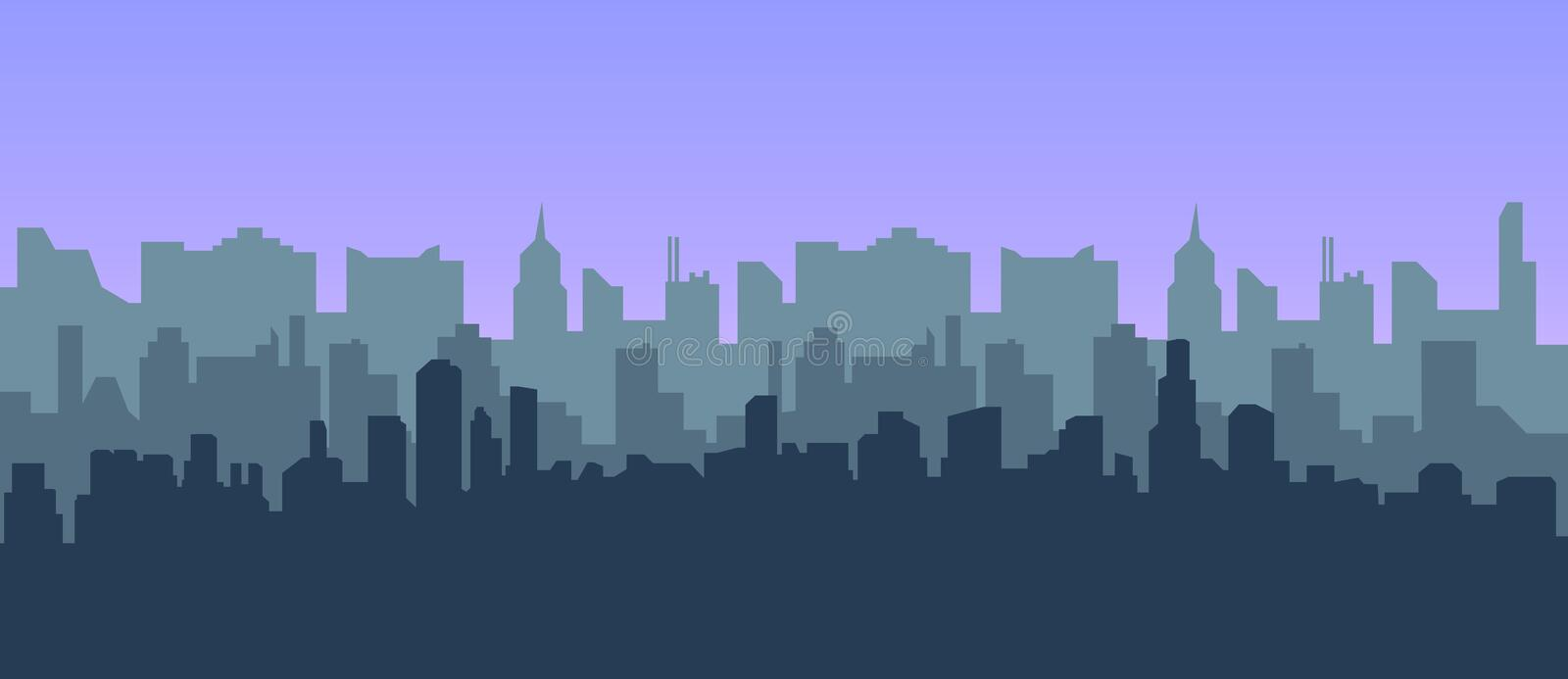 Modern city landscape vector background for web design. City skyline illustration. Horizontal Urban landscape. royalty free illustration