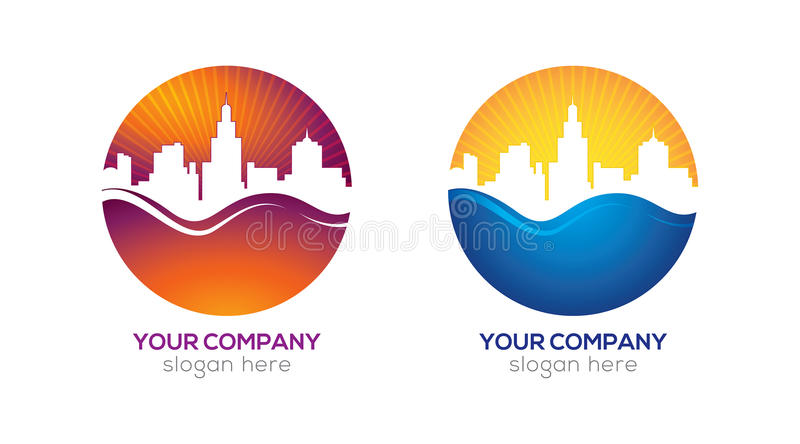 Modern city logo design. Modern city - real estate company in two examples of colors. Clean logo design with high quality vector illustration