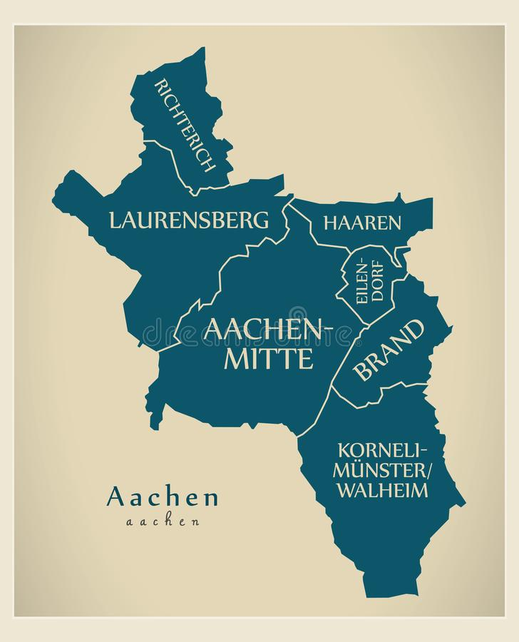 Modern City Map Aachen City Of Germany With Boroughs And Title