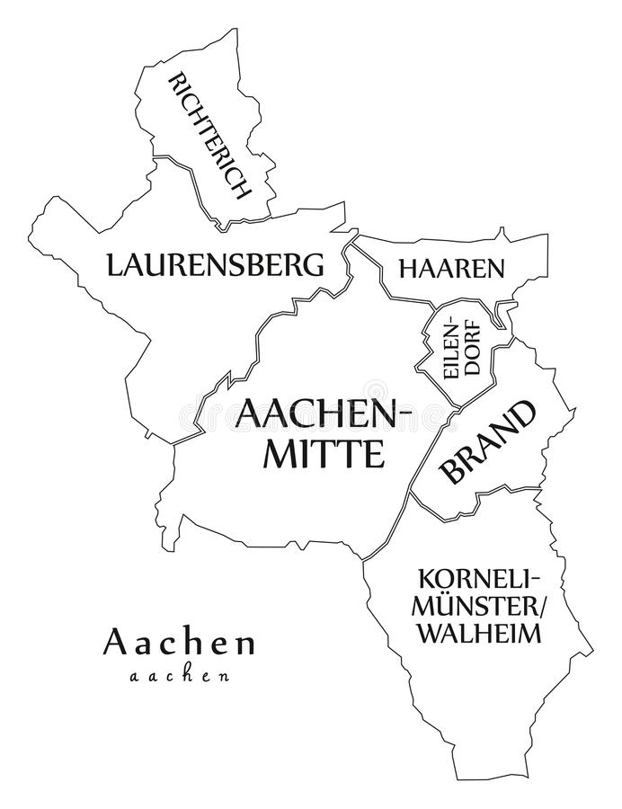 download modern city map aachen city of germany with boroughs and title stock vector