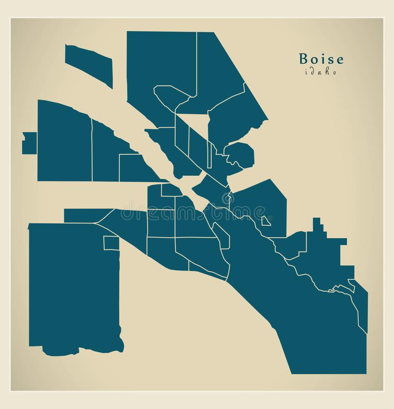 Modern City Map - Boise Idaho city of the USA with neighborhoods. Illustration vector illustration
