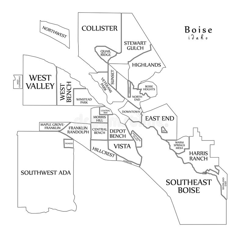 Modern City Map - Boise Idaho city of the USA with neighborhoods and titles outline map. Illustration vector illustration
