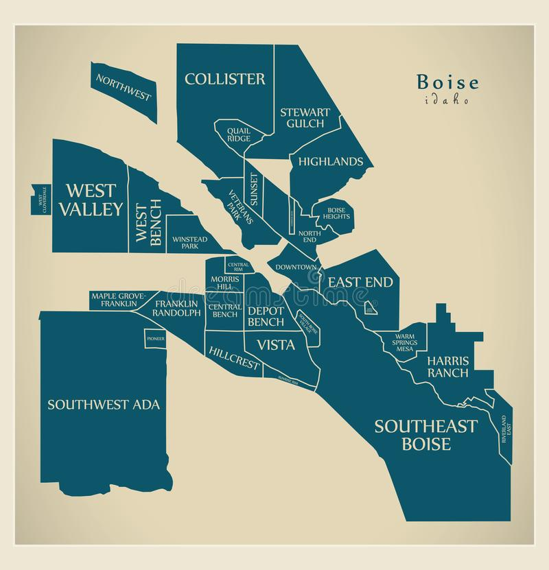 Modern City Map - Boise Idaho city of the USA with neighborhoods and titles. Illustration stock illustration