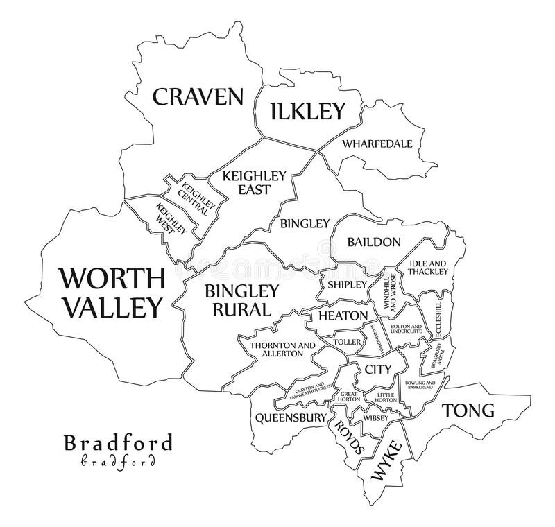 Modern City Map Bradford City Of England With Wards And Titles