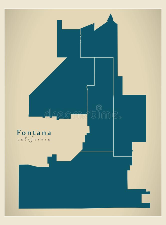 Modern City Map - Fontana California city of the USA with districts. Illustration royalty free illustration