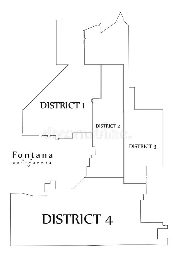 Modern City Map - Fontana California city of the USA with districts and titles outline map. Illustration vector illustration