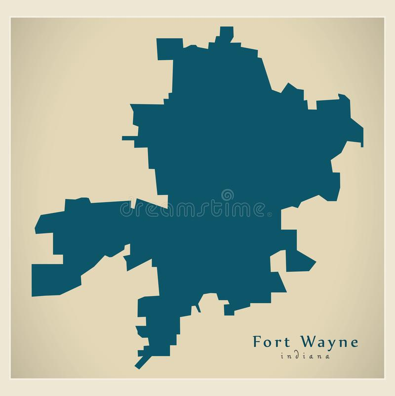 Modern City Map - Fort Wayne Indiana city of the USA stock illustration