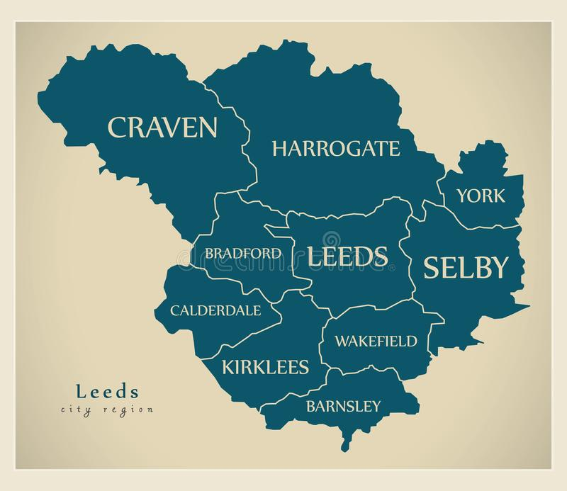 Modern City Map Leeds City Of England With Boroughs And Titles