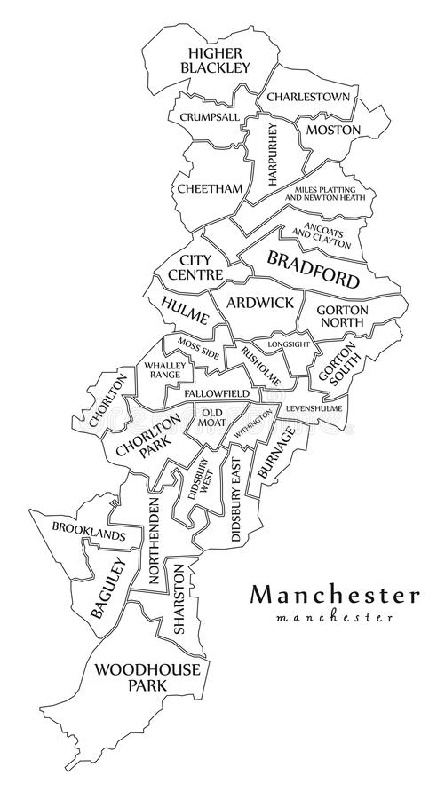 download modern city map manchester city of england with wards and titl stock vector