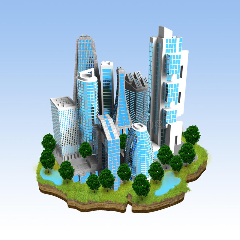 Download Modern City Miniature Concept Stock Illustration - Illustration of cityscape, modern: 26555420