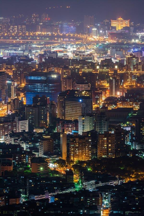 Modern city night. With skyscrapers in Taipei, Taiwan, Asia royalty free stock photo