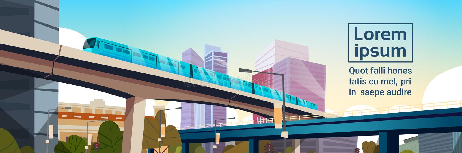 Modern City Panorama With High Skyscrapers And Subway Cityscape Template Background Horizontal Banner. Flat Vector Illustration vector illustration