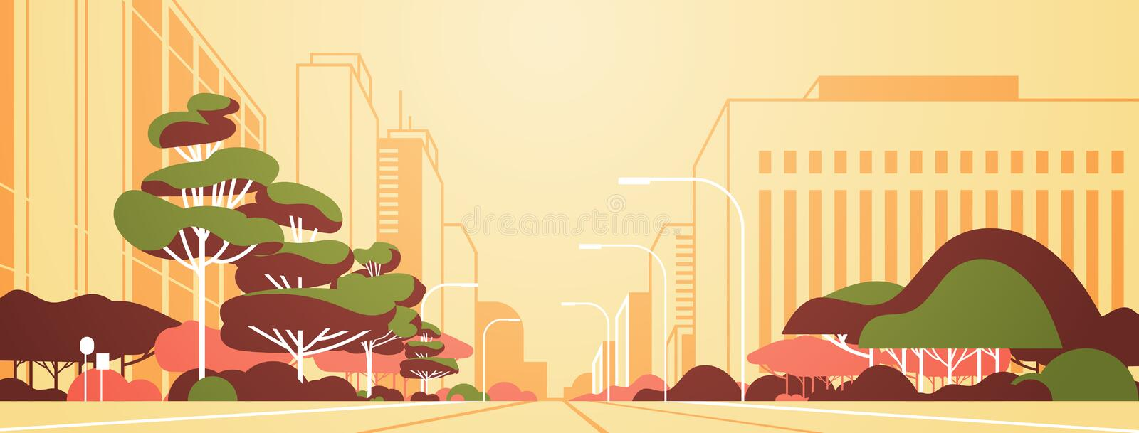 Modern city panorama road with street lamps skyscrapers empty nobody urban cityscape background flat horizontal banner. Vector illustration royalty free illustration