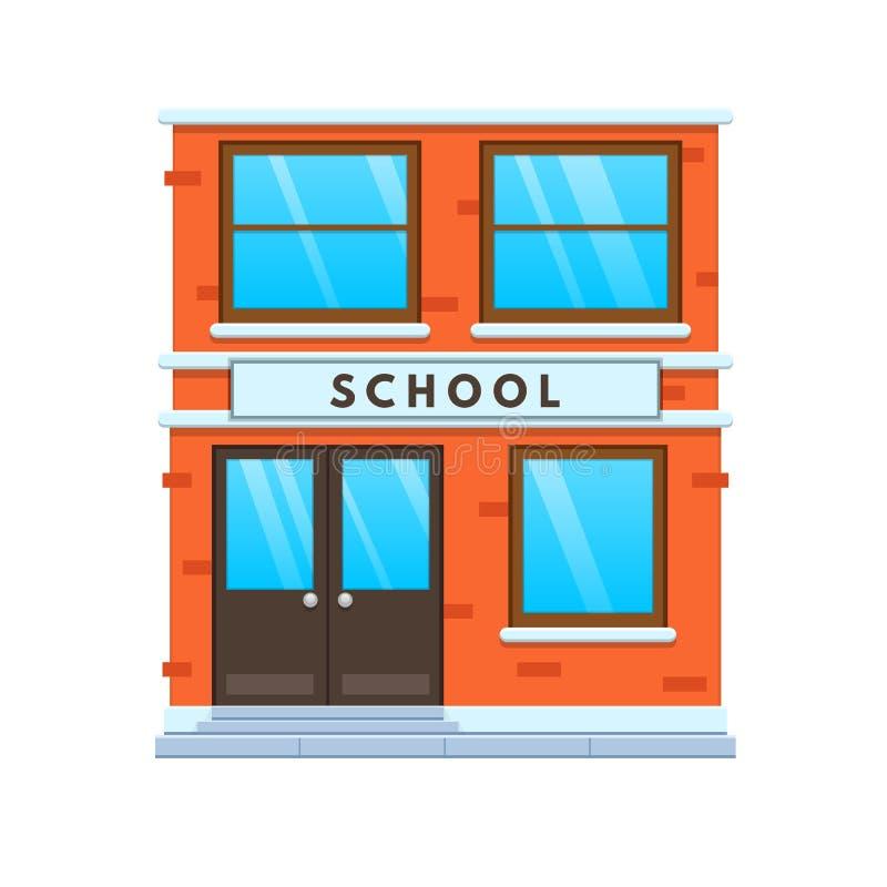 Modern city school building facade. City school building. Education, learning. vector illustration