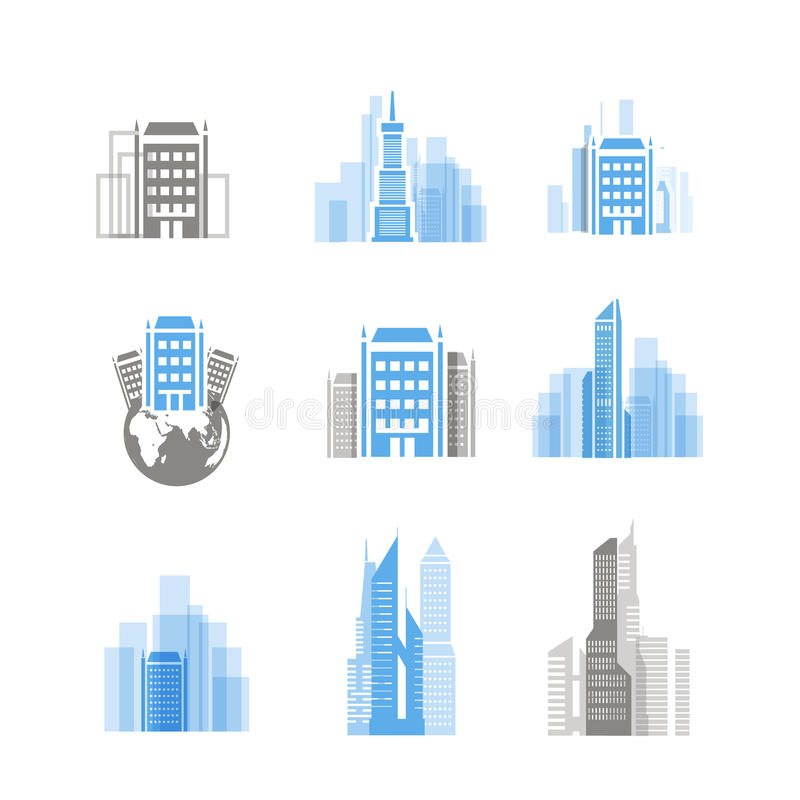 Modern City Silhouettes Collection Stock Photography