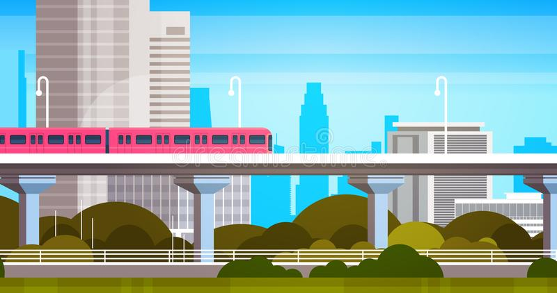 Modern City Skyscrapers View Cityscape Panorama With Subway Train Urban Background. Flat Vector Illustration vector illustration