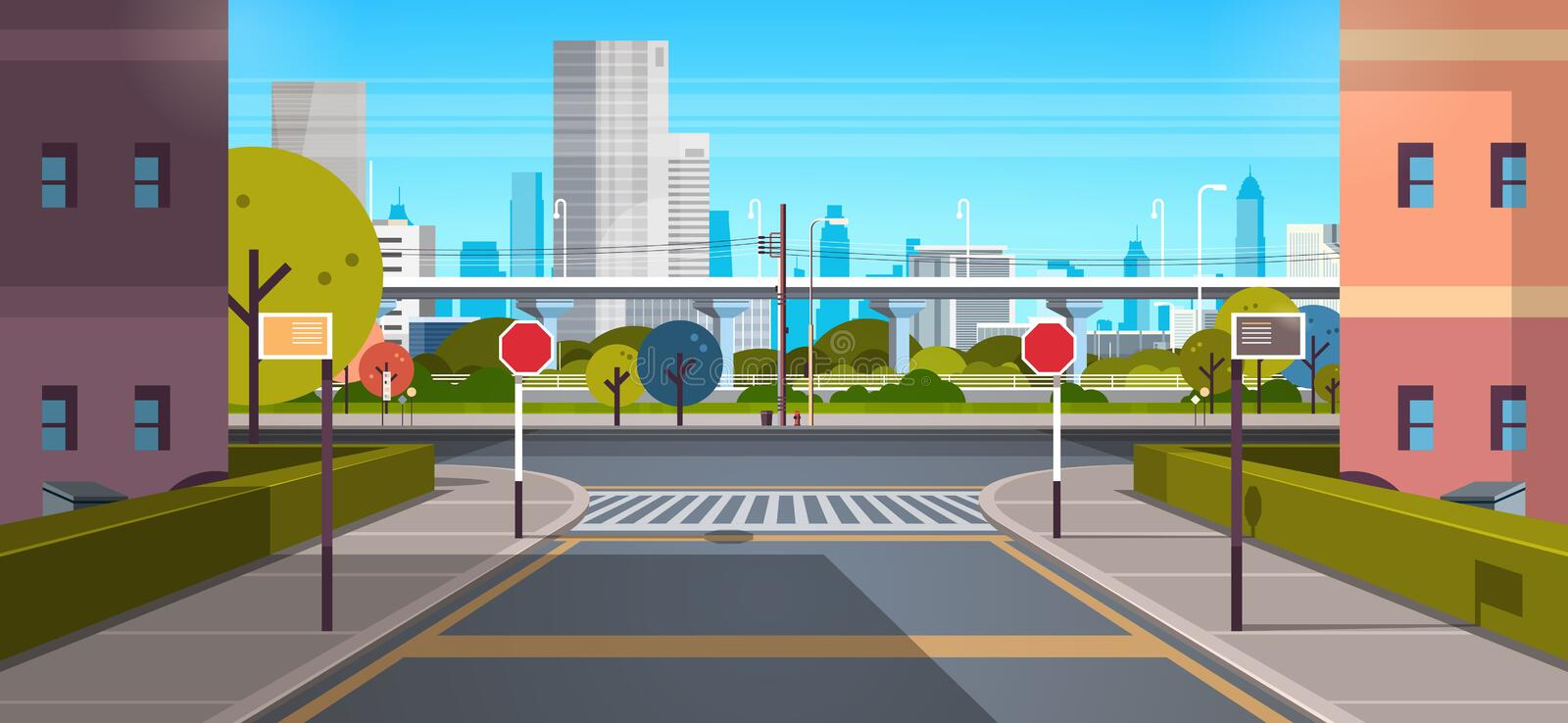Modern city street architecture skyscraper buildings view empty downtown road urban cityscape background sunny day. Horizontal flat vector illustration royalty free illustration