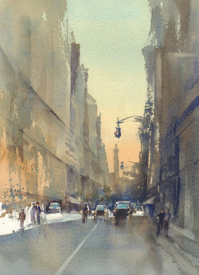 Modern city street view watercolor stock illustration