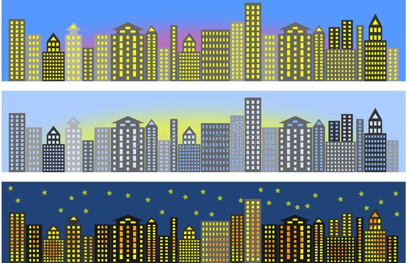 Modern city, sunset, dawn and night stock illustration