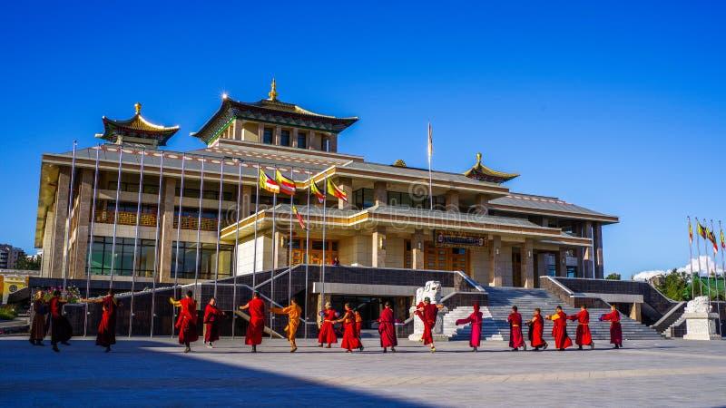 Ulaanbaatar, Mongolia.Gandantegchinlen Monastery royalty free stock photo