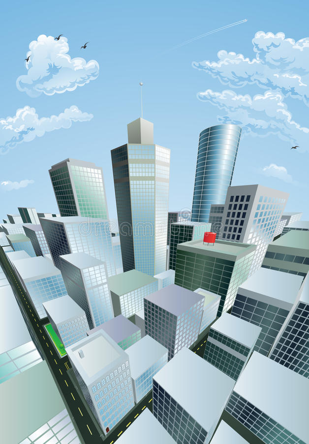Modern cityscape of city centre financial district. A modern cityscape of a city centre financial district with high rise skyscrapers vector illustration