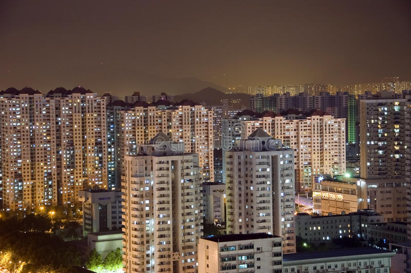 Modern cityscape by night royalty free stock image
