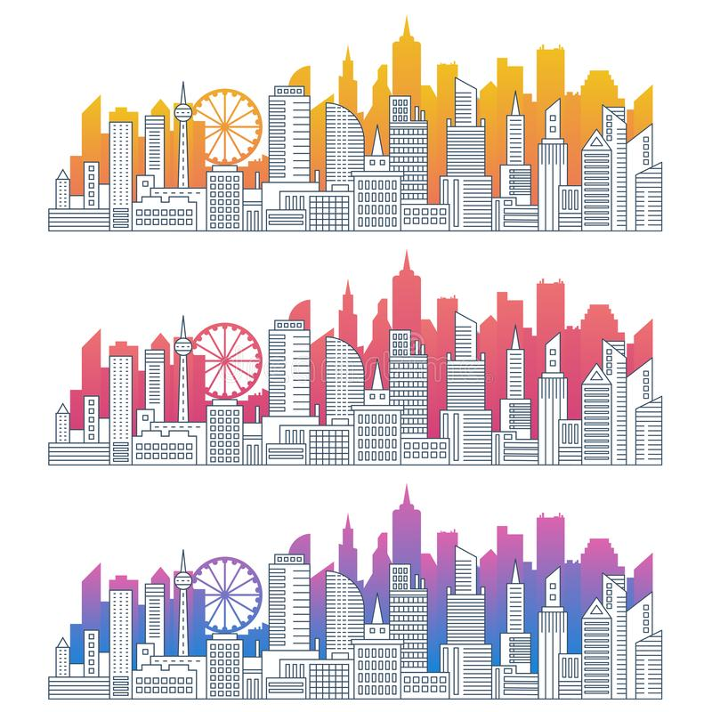 Modern cityscape outline gradient vector illustrations set royalty free illustration