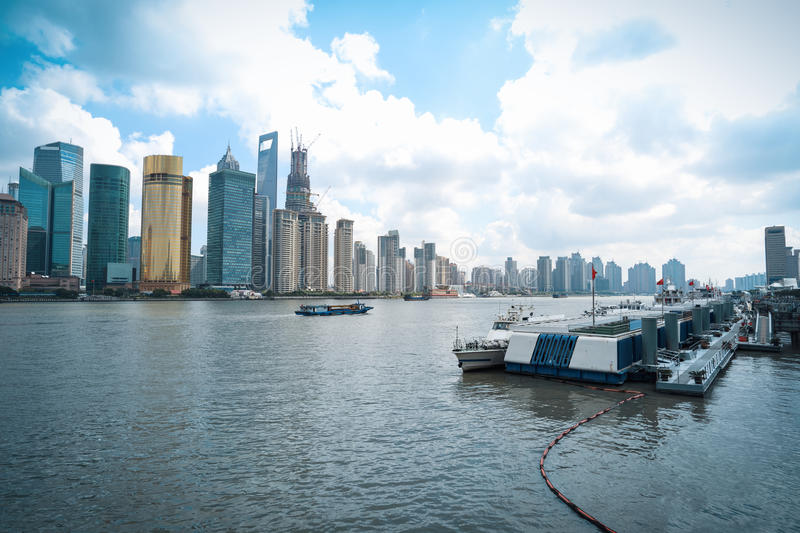 Modern cityscape in shanghai royalty free stock photography