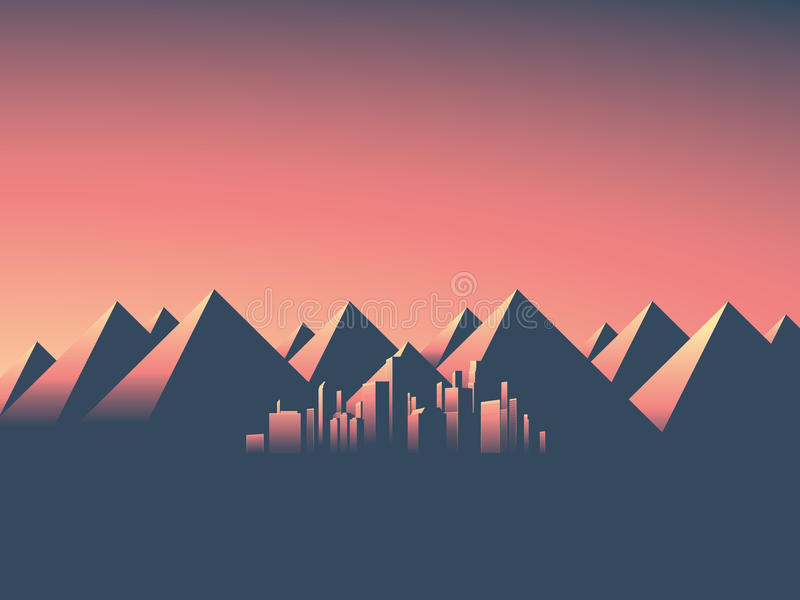 Modern cityscape with skyscrapers skyline in sunset colors. Mountain landscape background with high mountain range. stock illustration