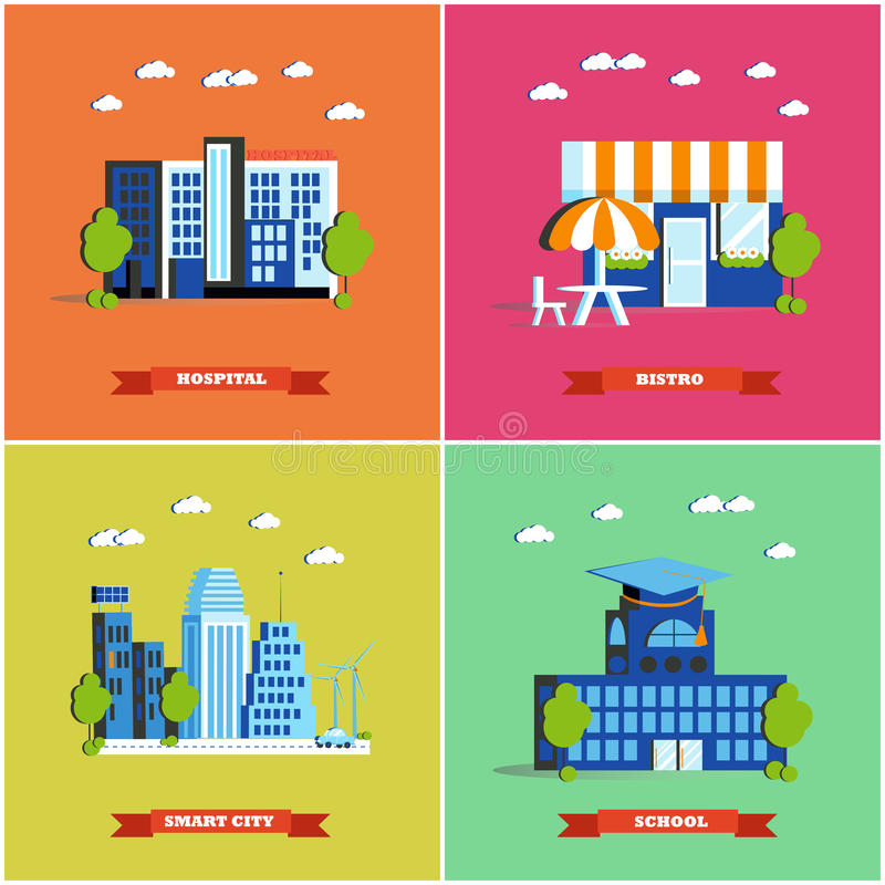Modern cityscape vector illustration. City buildings set in flat design. Hospital, bistro, smart city and school stock illustration