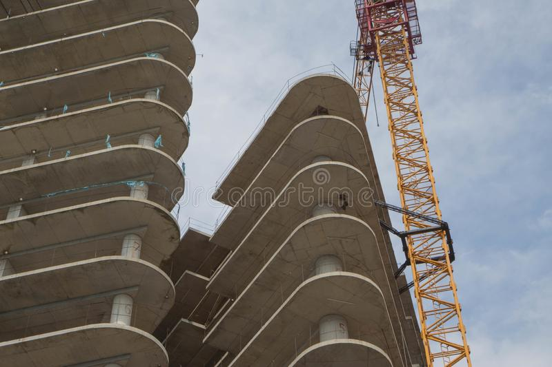 Modern civil engineering. Contemporary urban landscape. High rise building under construction royalty free stock images