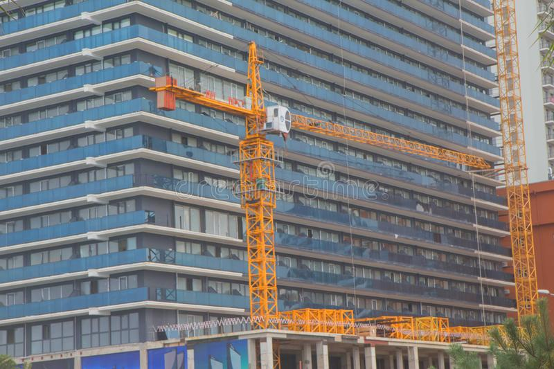 Modern civil engineering. Contemporary urban landscape. High rise building under construction royalty free stock photo