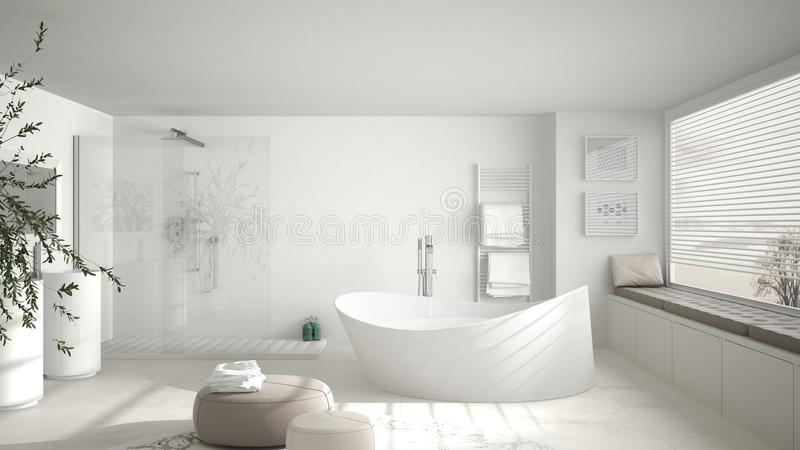 Modern classic bathroom with big round carpet, large panoramic w royalty free illustration