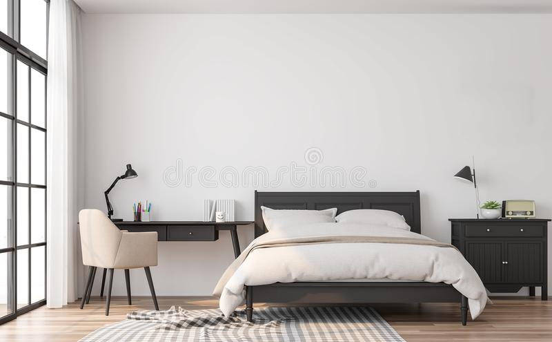 Modern classic bedroom 3d render. The rooms have wooden floors and white walls.Furnished with black wood furniture. There are large window overlooking to royalty free illustration