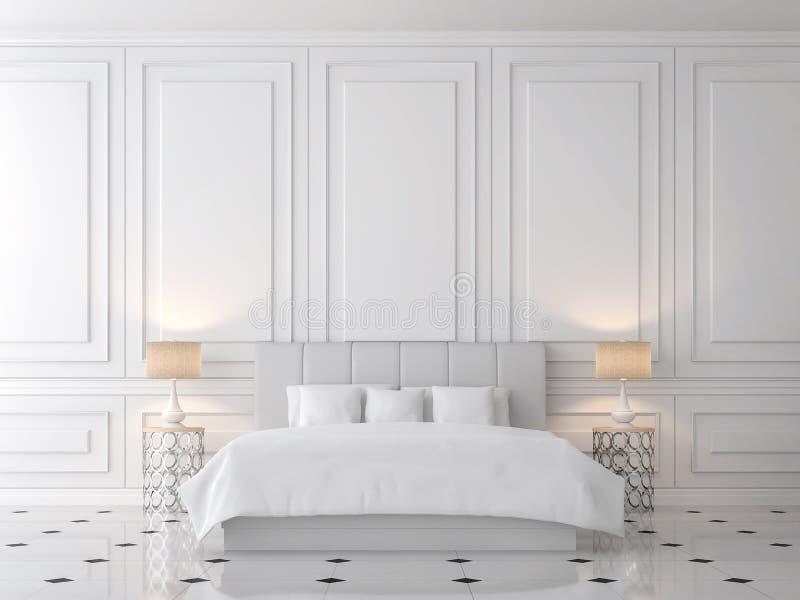 Modern classic bedroom 3d render royalty free illustration