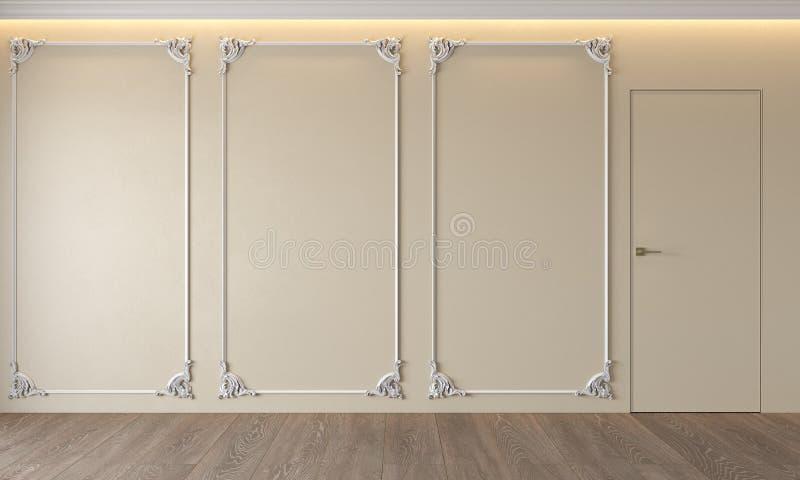 Modern classic beige interior with stucco, door, wooden floor, ceiling backlit, molding. Empty room, blank wall. 3d render illustration mock up stock photos