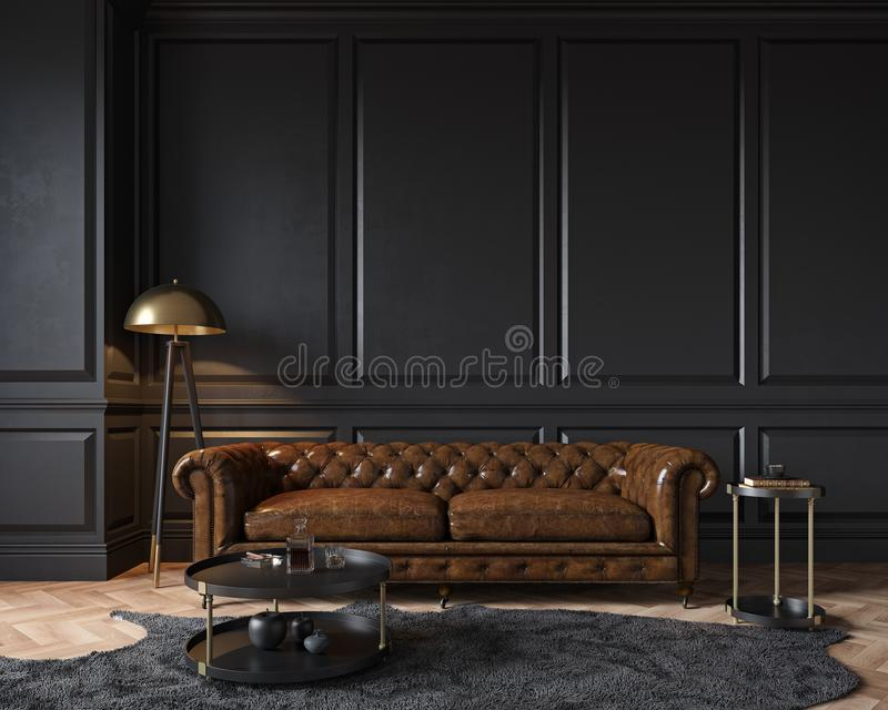 Modern classic black interior with capitone brown leather chester sofa, floor lamp, royalty free illustration