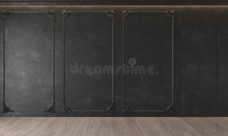 Modern classic black interior with stucco, door, wooden floor, ceiling backlit, molding. Empty room, blank wall. stock photo