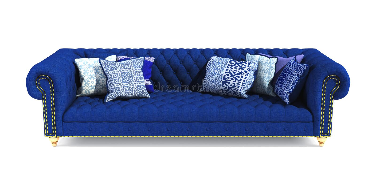 Modern classic blue fabric sofa with pillows in different ornament pattern on isolated white background. Stylish sofa with royalty free stock photography