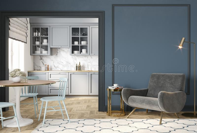 Modern classic blue gray interior with lounge chair, armchair, kitchen, dining table, carpet, floor lamp and mouldings. stock photography